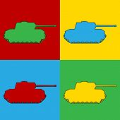 Pop Art Panzer Simbol Icons.