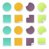 Set Of Multi-colours Stickers With Rounded Corners In Different Shapes.