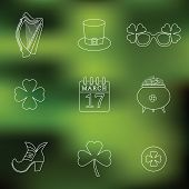 Happy St. Patrick's Day vector line Icons on blured background. Traditional irish symbols