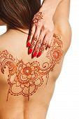 Naked Back Of Young Girl With Henna Mehendi