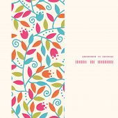 Vector colorful branches vertical frame seamless pattern background