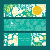 Vector emerald flowerals horizontal banners set pattern background