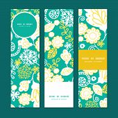 Vector emerald flowerals vertical banners set pattern background