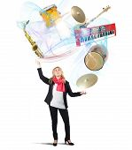stock photo of juggler  - Woman plays with instruments like a juggler - JPG