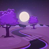 Cartoon Night Landscape