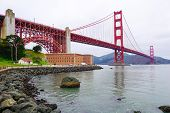 Golden Gate bridge and Fort Point, San Francisco.