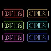 Set of colorful neon Open signs