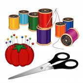 Sewing Kit, Needle, Threads, Pincushion, Pins, Scissors