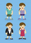 Women Fashion Design Vector Illustration Outfits For Different Occasions And Activities