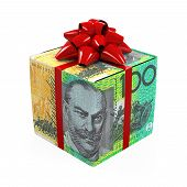 picture of money prize  - Australian Dollar Money Gift Box isolated on white background - JPG