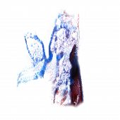 stain with watercolour burgundy, blue paint stroke watercolor is