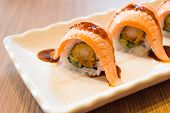 Raw Fresh Salmon Sushi Roll Maki - Japanese Food