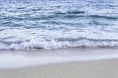 Soft Sea Ocean Waves Wash Over Sand Background
