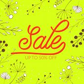 Summer sale vector banner design. Pink lettering on green background with stems, plants and nature d