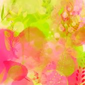 Nature inspired pink and green background with watercolor texture and leaves. Vector design for spri