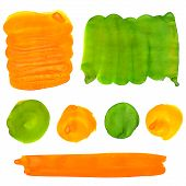 Green and orange gouache paint stains and strokes. Bright vibrant color splotches for logo and graph