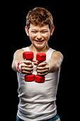 Funny Boy With Dumbbells