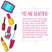 Makeup tools vector layout. Hand drawn illustrations of lipstick, mascara, nail polish tube and eyes