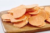 image of batata  - Chopped sweet potatoes ready for preparing homemade chips - JPG