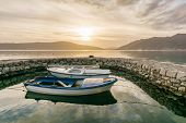 Small Boats Tied In Little Marina Of Tivat Harbor, Montenegro