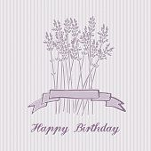 Romantic Birthday Card With Lavender Bouquet, Invitation, Vector
