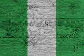 Nigeria National Flag Painted Old Oak Wood