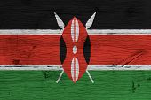 Kenya National Flag Painted Old Oak Wood