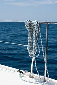 picture of lifeline  - A rope tied around a lifeline on a yacht - JPG