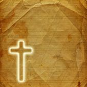 Glowing Holy Cross On Abstract Paper Background