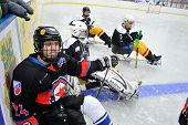 Sledge Hockey Players Near Board