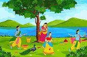stock photo of lord krishna  - vector illustration of Radha Krishna playing Holi - JPG