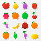 Set Of Fruit Stickers.