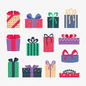 Set Of Cute Colorful Gift Boxes