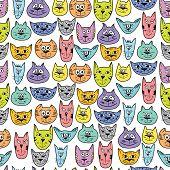 Colorful cute cat pattern