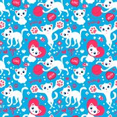 Romantic Seamless Pattern With Cute Playful Kittens. Vector Seamless Texture For Wallpapers, Pattern