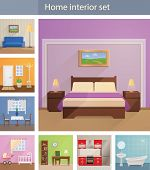 Home interiors vector set