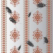 stock photo of cockroach  - vector seamless pattern wallpaper with grey cockroaches - JPG