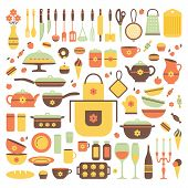 Постер, плакат: Set Of Kitchen Utensils And Food