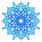 picture of lace  - Watercolor hand drawn blue mandala - JPG