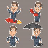 Businessman in various poses stickers