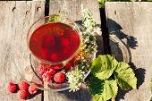 herbal raspberry and melissa tea, toned