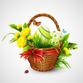 Easter card with basket, eggs and flowers. Vector illustration