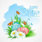 Easter greeting card with daisies and eggs. Vector illustration