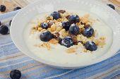 Healthy Breakfast - Yogurt With Blueberries And Muesli