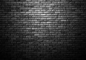Dimly Lit Old Brick Gray Wall With Ligth Vignette