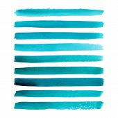 image of aquamarine  - Set of watercolor hand painted stripes - JPG