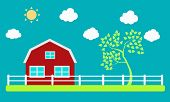Farm and tree on a background of sky and clouds. Vector illustration