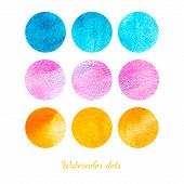Set Of Colorful Watercolor Dots.