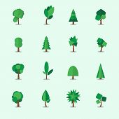 Tree icons set, vector illustration
