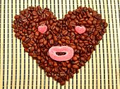Coffee Heart With Jellies On Bamboo Mat